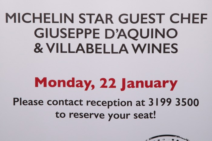 Michelin Star Guest Chef Giuseppe D'Aquino Wine Dinner - 22 Jan 2018